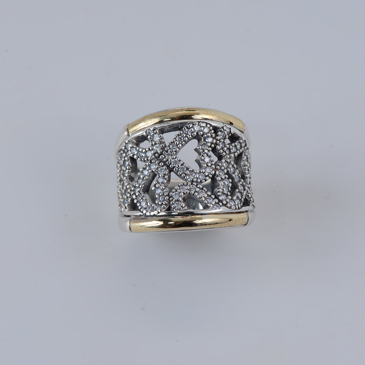 Elegant Sterling Silver 9.25 Ring with Gold tone plating