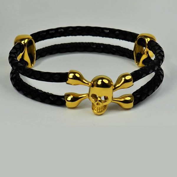 New Skull Braided Leather Bracelet