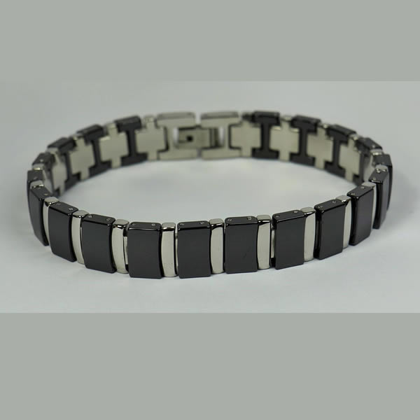 Stainless Steel White/ Black ceramic Bracelet