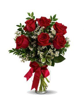 Boeket 5 rode rozen