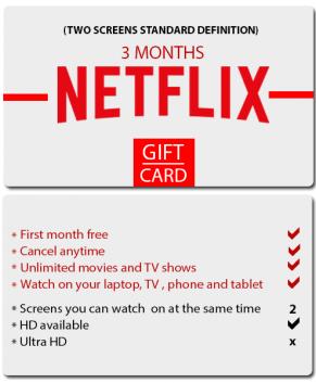 Netflix 2 screens standard definition for 3 months