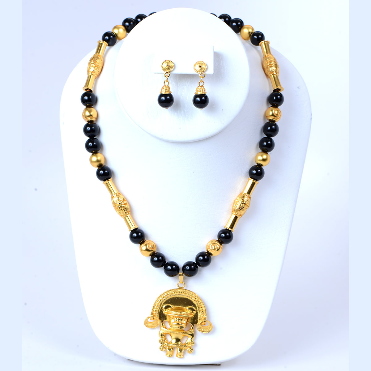 Pre Columbian Onyx Necklace Set