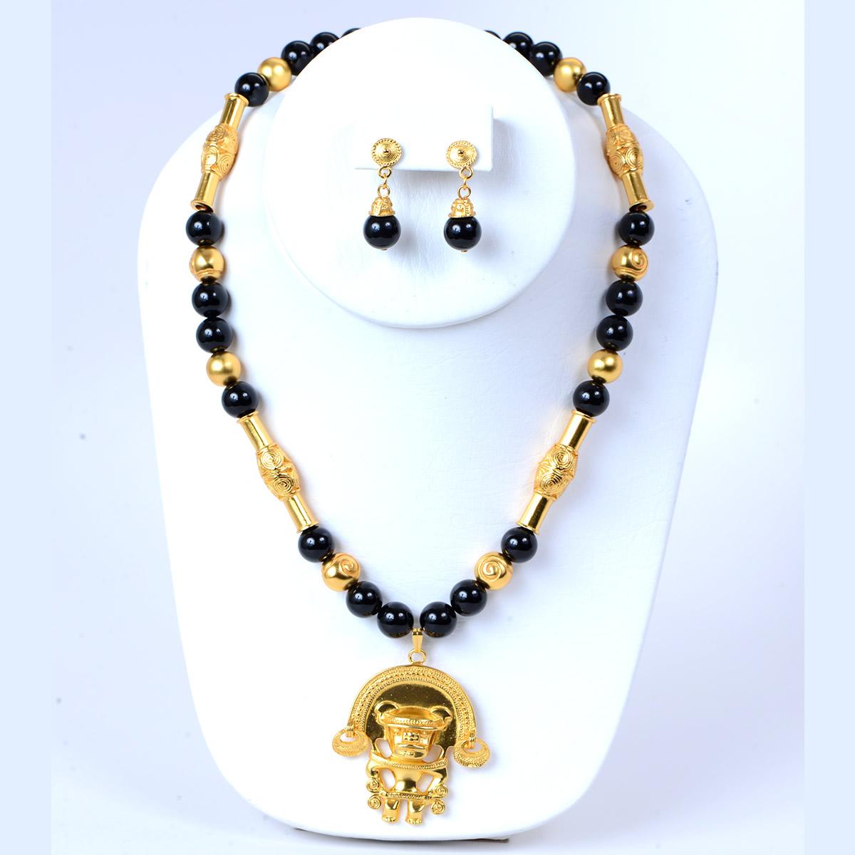 Pre Columbian Onyx Necklace Set