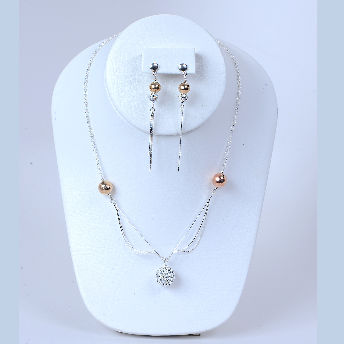 Sterling silver set (Cristal, Rose & Gold tone plated)