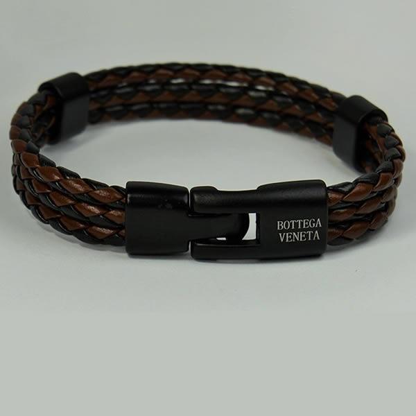 Bottega Veneta Brown Black LEATHER Bracelet