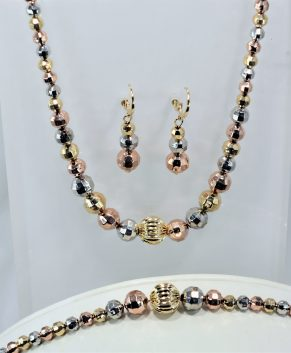 18K GOLDPLATED TRICOLOR SET, NECKLACE, EARRINGS AND BRACELET