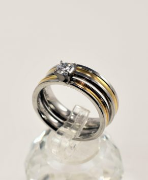 STAINLESS STEEL RING BICOLOR TONE (2 RINGS)